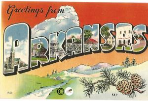 Vintage Linen Postcard Greetings from Arkansas Big Letter Large Letter