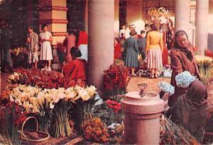 Portugal Old Vintage Antique Post Card Flower Corner of the Market Madeira 1958