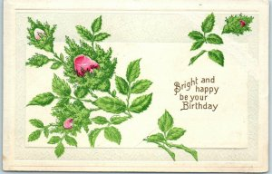 1910 Embossed Greetings Postcard Bright & Happy Be Your Birthday Pink Roses
