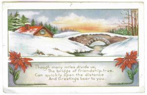 Thomson, New York to Rutland, Vermont 1919 Embossed Christmas Postcard
