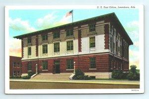 U.S. US Post Office Jonesboro Flag Arkansas Ark Postcard Vintage Building