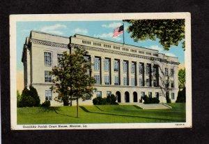 LA Quachita Parish Court House Monroe Louisiana Postcard Linen PC