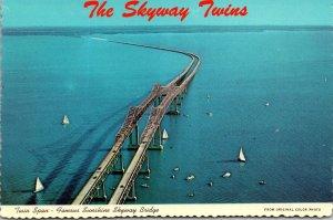 Florida St Petersburg Twin Spans Of Sunshine Skyway Bridge