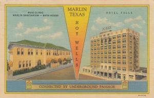 MARLIN, Texas, 1930-40s; Buie Clinic & Marlin Sanitarium-Bath House, Hotel Falls