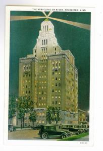 The New Clinic by Night, Rochester, Minnesota unused American Art Postcard
