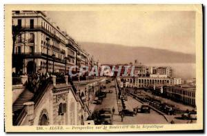 Algiers Old Postcard Perspective on the Boulevard of the Republic