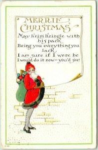 Vintage 1916 MERRIE CHRISTMAS Postcard SANTA CLAUS w/ Woman's Legs & Figure