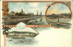 Gruss v Schonen Elbestrand Germany c1900 Postcard