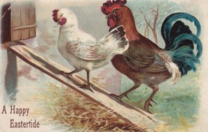 EASTER, PU-1908; Rooster & Hen walking up ramp into coop
