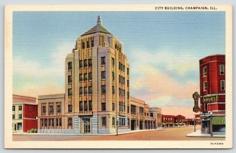 Champaign Illinois~ART DECO City Building~Corner Drug Store~1937 Linen Postcard