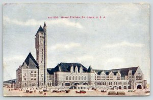 St Louis MO~Clocktower (They Mean It!)~Union Station Panorama~Trolleys~1907 PC
