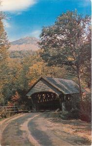 Franconia Notch New Hampshire~Old Covered Bridge & Mt. Liberty~1960s Postcard