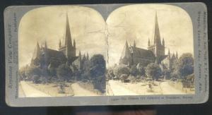 REAL PHOTO TRONDHJEN NORWAY NORGE OLD CATHEDRAL STEREOVIEW CARD CHURCH