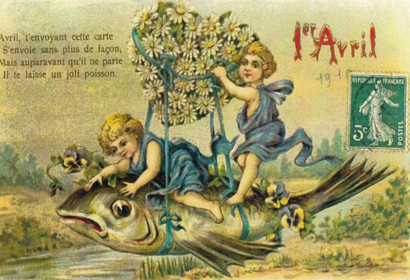 REPRINT April Fools Day fantasy floral heart zeppelin huge fish caricature
