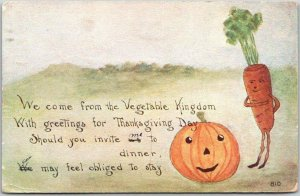 1911 THANKSGIVING Greetings Postcard We Come from the Vegetable Kingdom…