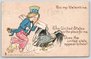 E Curtis Patriotic Valentine~Uncle Sam~Eagle~United States Is Place For Me~1906