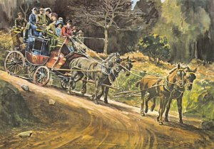 Devon Art Postcard, The Minehead to Lynmouth Coach by George Hooker GF3