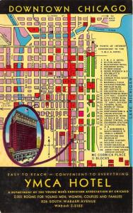 Chicago Illinois~YMCA Hotel @ 826 S Wabash Avenue~Map of Downtown Chicago~1960s