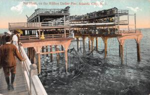 Net Haul On The Million Dollar Pier, Atlantic City, N.J., Early Postcard, Unused