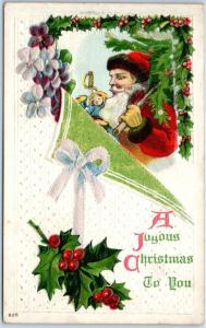 Vintage Christmas Postcard SANTA CLAUS Red Suit w/ Bag of Toys / Holly c1910s