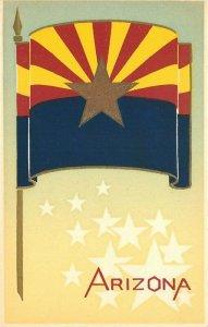 1930s Arizona Flag Hand Made Serigraph Sheehan Topanga California Postcard