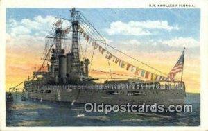 US Battleship Florida Military Battleship Postcard Post Card Old Vintage Anit...