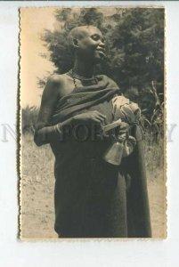 439435 AFRICA RWANDA girl in national dress Vintage photo postcard