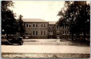 PEOTONE, Illinois RPPC Real Photo Postcard PUBLIC SCHOOL Street  View c1930s
