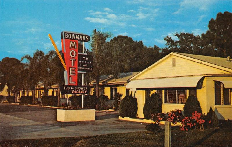 New Port Richey Florida~Bowman's Motel~West Coast Highway~Neon Sign~1960s PC
