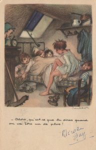 Childrens Overcrowded Bedroom Antique Clock Old French Postcard