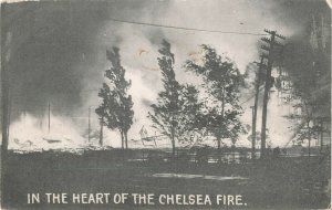 Postcard In The Heart of The Chelsea Fire Unposted ME6.