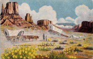 LH Dude Larsen Trail Of The Pioneers Cowboy Artist Linen Postcard G45
