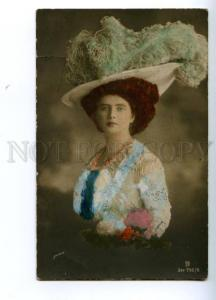 138987 Lady in Huge Modern HAT vintage PHOTO GERLACH tinted PC