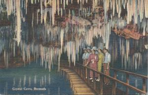 Crystal Caves, Bermuda, Early Linen Postcard, Unused