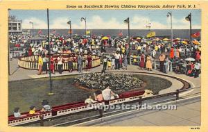 Asbury Park, New Jersey, NJ, USA Postcard Scene on Boardwalk Showing Children...