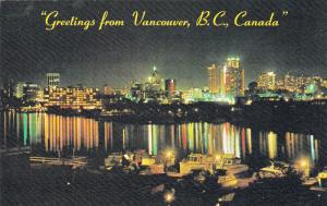 Waterfront view at night , VANCOUVER , B.C. , Canada , 50-60s
