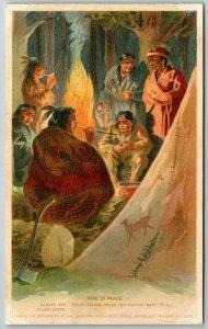 Sleepy Eye Minnesota~Indians Around Campfire Smoke Peace Pipe~Flour Ad~SHARP*