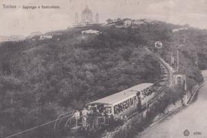 Torino Collina De Superga E Funicolare Train Turin Antique Italian Postcard