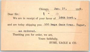 Chicago Advertising Postcard SYME, EAGLE & CO. Sugar Order Receipt Card 1919