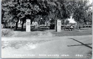 Rock Valley, Iowa RPPC Real Photo Postcard TOURIST PARK Roadside c1950s Unused