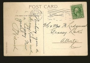 Postmarked 1910 Chicago ILL Embossed Christmas Greetings Postcard