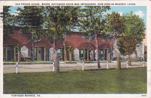 FORTRESS MONROE, Virginia, PU-1932; Old Prison House now Masonic Lodge