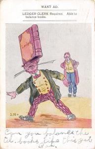 Comic Pun~Want Ad~Ledger Clerk Bookeeper~Man With Book on Head~Artist 1907