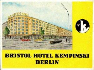 Germany Berlin Bristol Hotel Kempinski Vintage Luggage Label sk4778