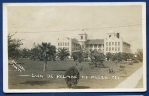 McAllen Texas tx Casa de Palmas real photo postcard RPPC