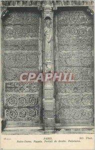 Postcard Old Paris Notre Dame Facade Right Paintings Portal