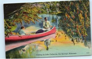 *Fishing Canoe Lake Catherine Hot Springs Arkansas Vintage Linen Postcard B86