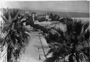 Croatia Opatija street view panorama, animated, palm trees