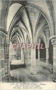 Old Postcard Mont Saint Michel Abbey Knights Hall (XIII century)