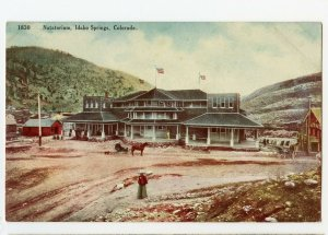 1910 NATATORIUM*IDAHO SPRINGS*COLORADO*GLEN OGLE*ANTIQUE POSTCARD*AMERICAN FLAGS